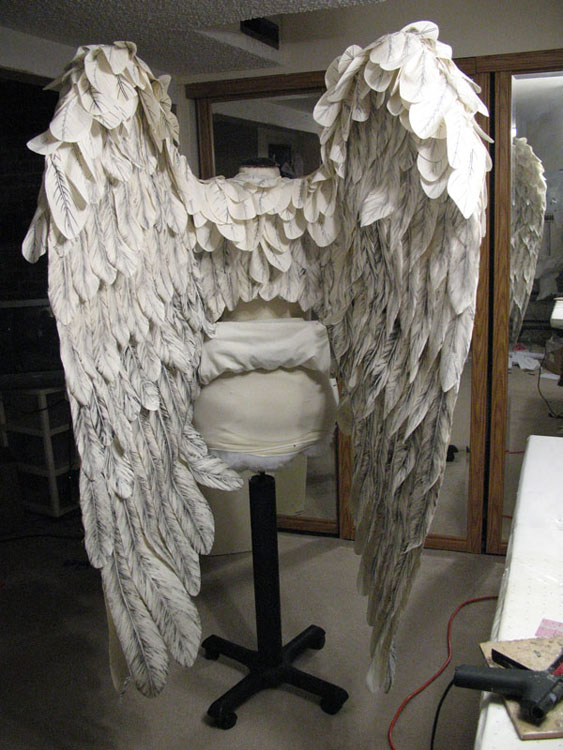 Wings with feathers applied. Each individual feather was made by Gypsy Ames and was carefully placed individually by yours truly