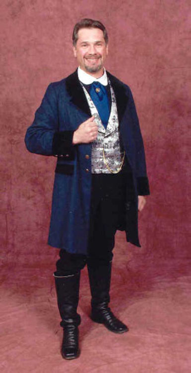 Blue wool single breasted frock coat with black lapels and pocket flaps