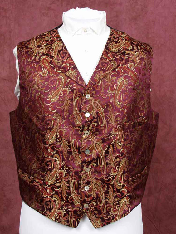 Burgandy and gold brocade day waistcoat