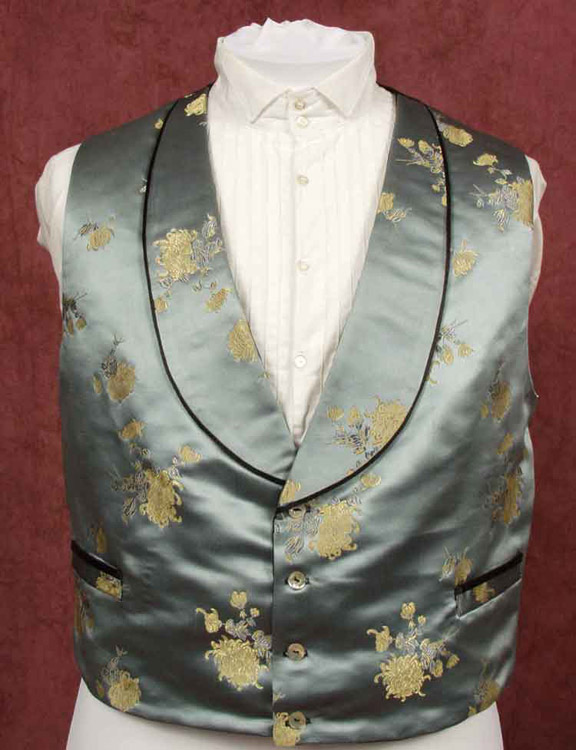 Gold brocade evening dress waistcoat with black piping