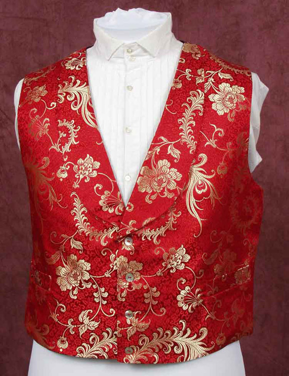 Red and gold brocade silk waistcoat