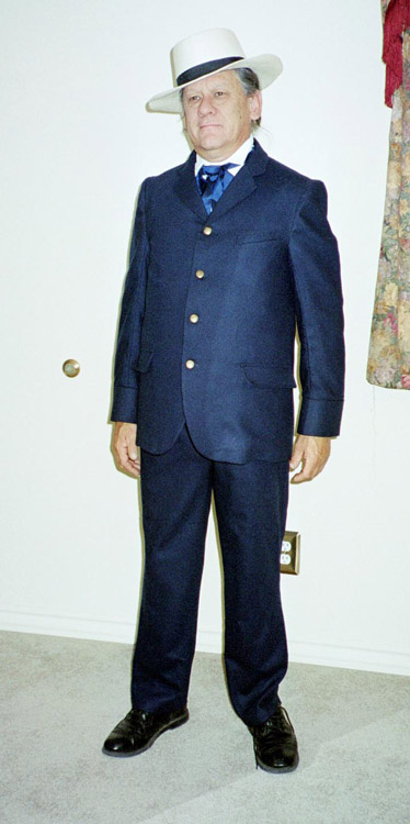 Blue wool custom made sack coat and trousers