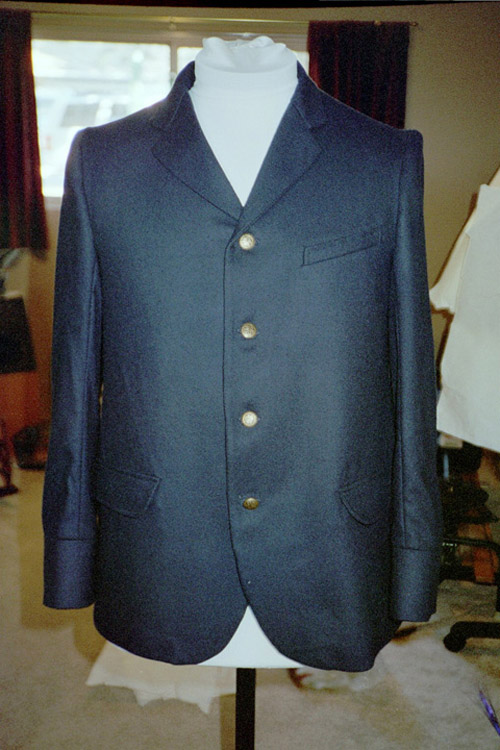 Navy blue wool sack coat