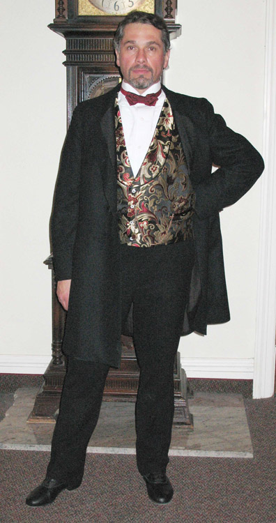 Black double-breasted frock coat with black silk ottoman lapels