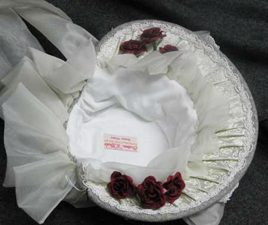 Gray and white silk 1880's bonnet