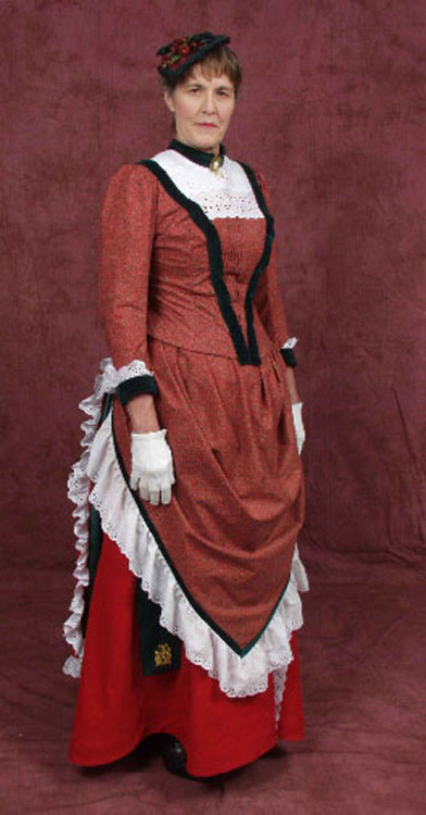 Red cotton and cotton velvet 1885 bustle gown front