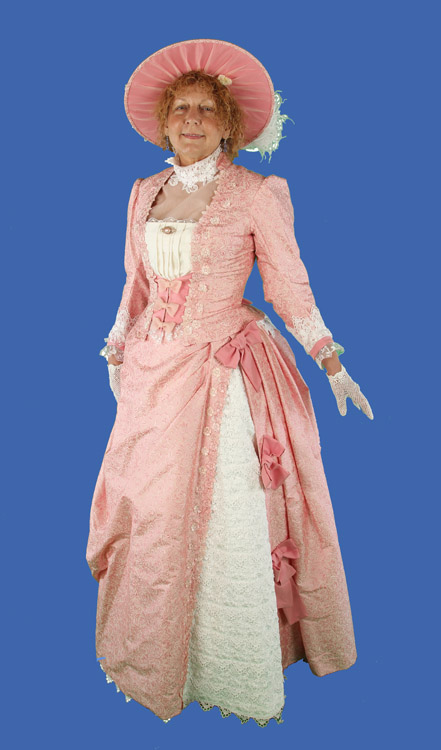 Bustle day dress pink salmon and white Venetian lace