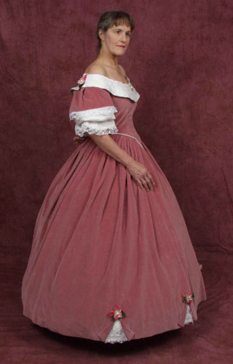 Civil War ball gown dusty pink cotton velvet with cream silk bertha and handmade flowers
