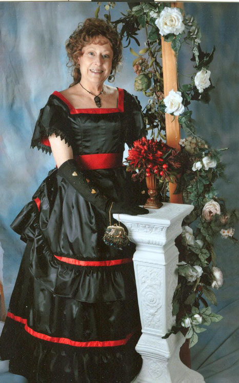 Black silk taffeta ball gown with red accent
