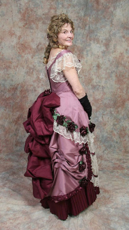 Pink and wine silk taffeta with roses