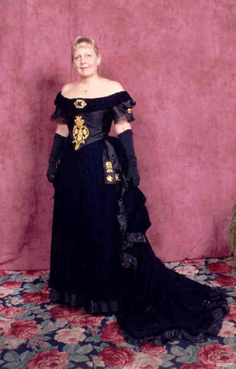 Black velvet and silk ottoman ball gown with train