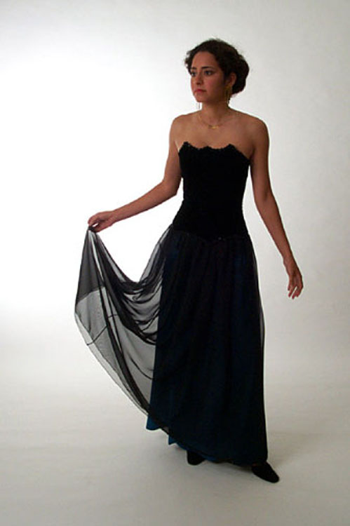 Evening dress black silk velvet with black chiffon