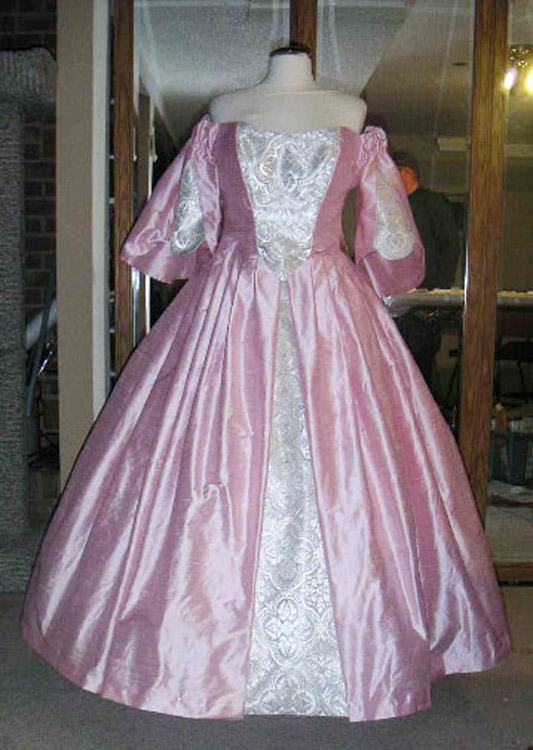 Pink silk wedding dress with white silk accent with real silver metal brocade
